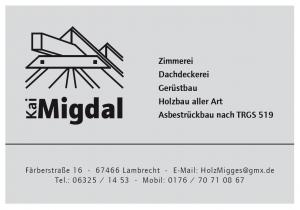 Firma Migdal Zimmerei, Dachdeckerei, Gerüstbau